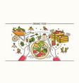 horizontal banner with hands holding fork and vector image vector image