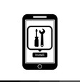 icon of smart phone mobile tool application design vector image vector image