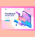 isometric users write feedback about services vector image