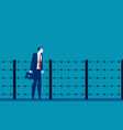 man and fence barbed wire concept business