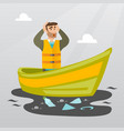 man floating in a boat in polluted water vector image vector image