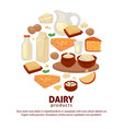milk and dairy farm food products poster vector image vector image