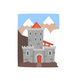old medieval castle with mountains landscape vector image vector image