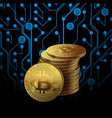 one golden bitcoin on circuit board pattern vector image vector image