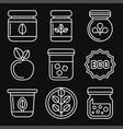 organic farm food icons set on black background vector image