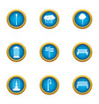 park bench icons set flat style vector image