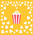 popcorn popping heart shape frame red yellow vector image
