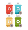 recycle bins waste management and recycle concept vector image vector image