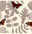 seamless floral pattern with leaves and butterfly vector image