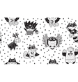 Seamless pattern with Superhero animals Ink vector image vector image