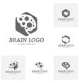 set of brain with hexagon logo template hexagon vector image vector image