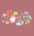set stickers characters collect magnet souvenirs vector image