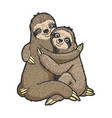 sloth love couple hug sketch vector image vector image