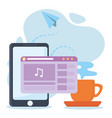 smartphone content video music social network vector image vector image