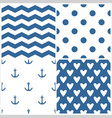 tile sailor pattern set with polka dots zig zag vector image