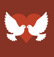 two birds with heart vector image vector image