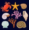 underwater sea creatures set crab starfich vector image