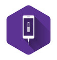 white smartphone battery charge icon isolated with vector image vector image