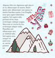 winter mountains cute art for new year holidays vector image