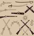 Ancient weapon Ax sword sabers grenades vector image