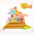 sweet land cake cupcake candy 3d icon vector image
