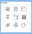 9 universal outlines set for web and mobile vector image vector image