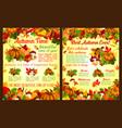 autumn acorn leaf pumpkin fall poster vector image vector image