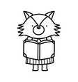 back to school education cute fox female reading vector image