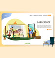 barber shop landing page website template vector image vector image