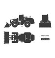 black silhouette of wheel loader vector image