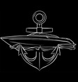 boat with anchor in black background vector image vector image