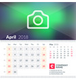 calendar for april 2018 week starts on sunday 2 vector image vector image