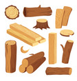 cartoon timber wood log and trunk stump and vector image vector image