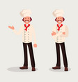 chef cook in two poses vector image vector image