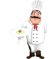 Chef takes ratatouille sauce restaurant plate vector image