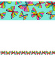 colorful butterflies border background design vector image vector image