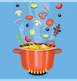 cooking concept on the stove boil the soup vector image vector image