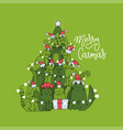 cute christmas card with christmas tree made vector image vector image