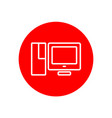 desktop pc computer set office outline red icon vector image vector image