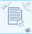document and check mark line sketch icon isolated vector image vector image