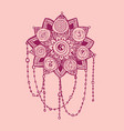 doodle style pink line art lotus with yoga chakras vector image