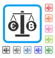 euro and bitcoin scales framed icon vector image vector image