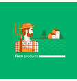 Farming industry farmer with fork farm house vector image