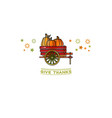 give thanks card cartoon pumpkins on wheelbarrow vector image vector image