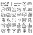 graphic design line icon set art tools symbols vector image vector image