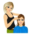 hairdresser working cutting long hair vector image vector image