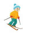 happy funny boy skiing downhill winter sport vector image vector image