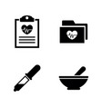 health heart simple related icons vector image