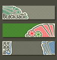 horizontal banners of black jack for text vector image vector image