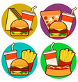 icons of fast food combos set contains hot dog vector image